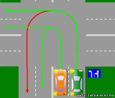 Перед поворотом направо